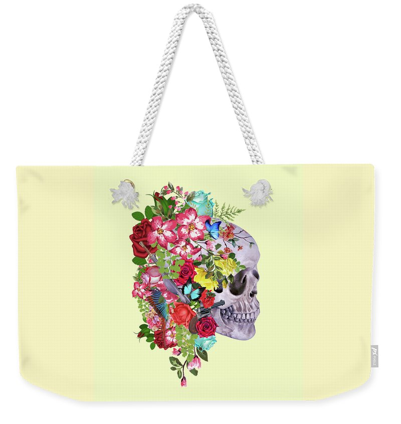 Mask Weekender Tote Bag featuring the digital art Skull Floral 2 by Mark Ashkenazi