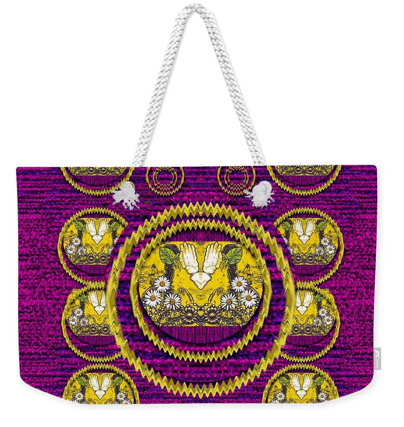 Skull Weekender Tote Bag featuring the mixed media Skull Hands In A Flower Scenery Popart by Pepita Selles