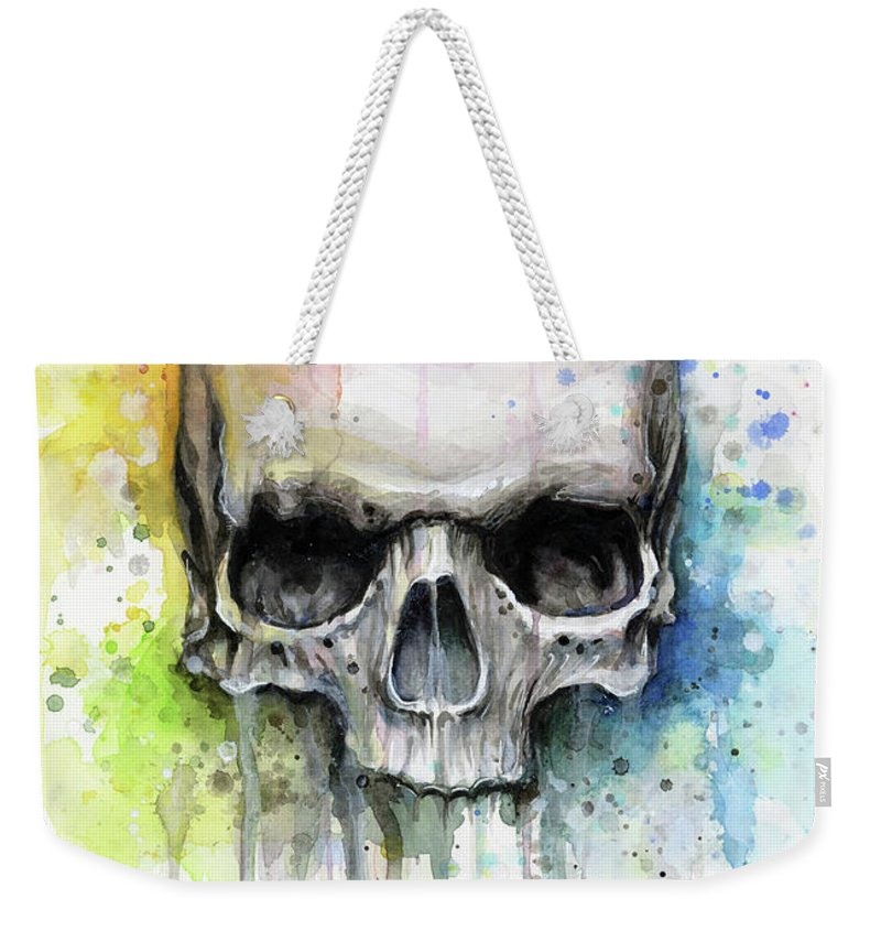 Skull Weekender Tote Bag featuring the painting Skull Watercolor Rainbow by Olga Shvartsur
