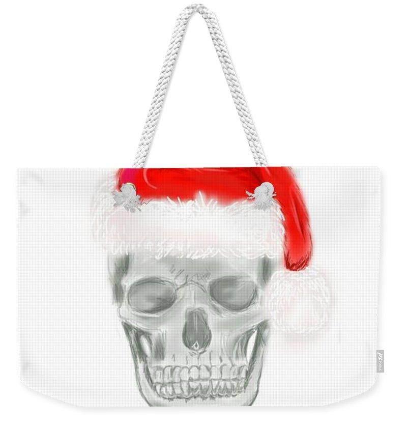 Christmas Weekender Tote Bag featuring the digital art Skully Santa by Jeanette Hibbert