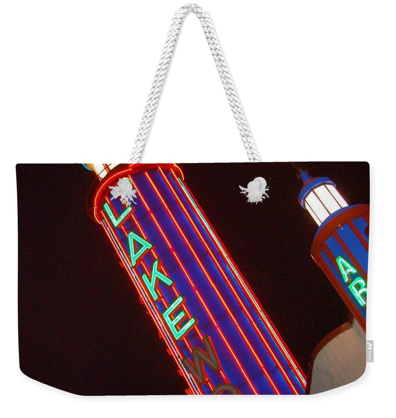 Neon Weekender Tote Bag featuring the photograph Sky Lights by Debbi Granruth