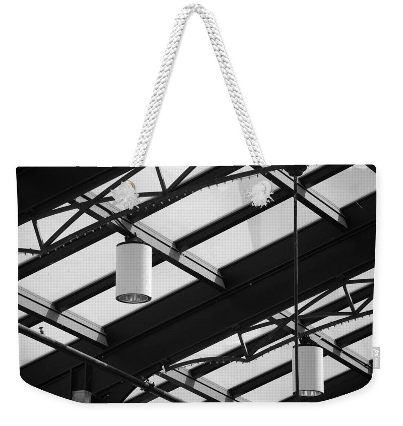 Black And White Weekender Tote Bag featuring the photograph Sky Lights by Rob Hans