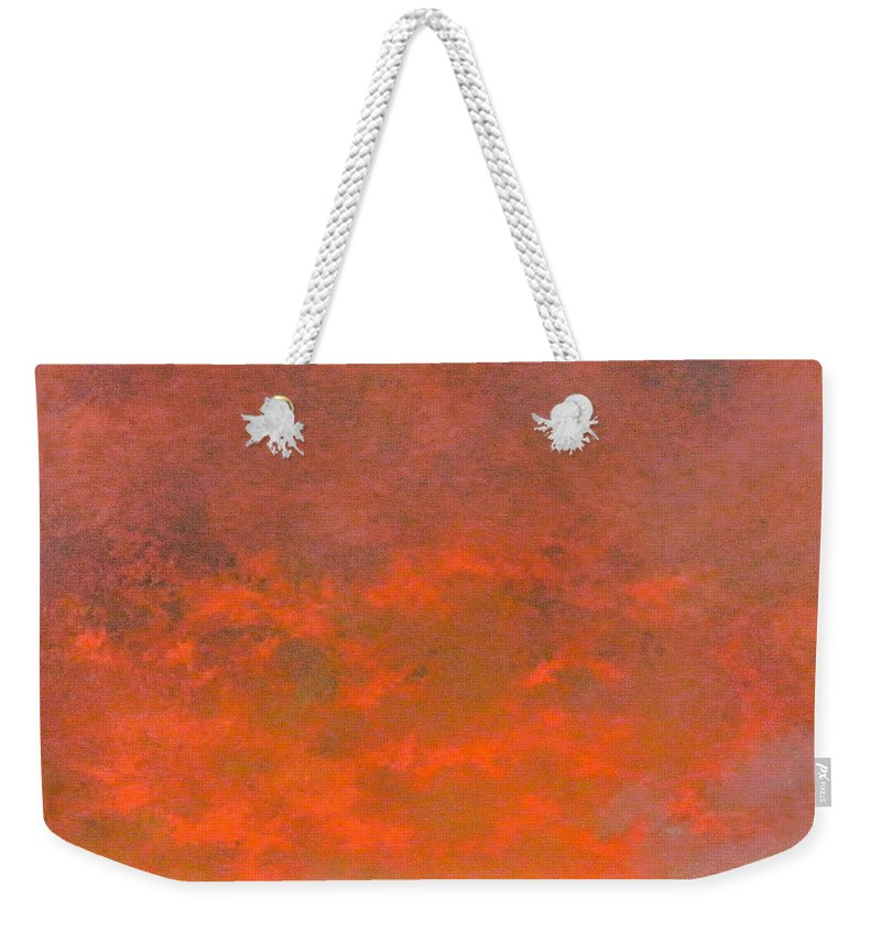 Sky Weekender Tote Bag featuring the painting Sky of fire by Tomas Castano