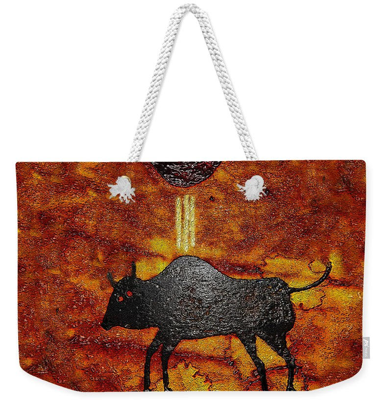 Art Weekender Tote Bag featuring the painting Sky People Taking Buffalo by David Lee Thompson