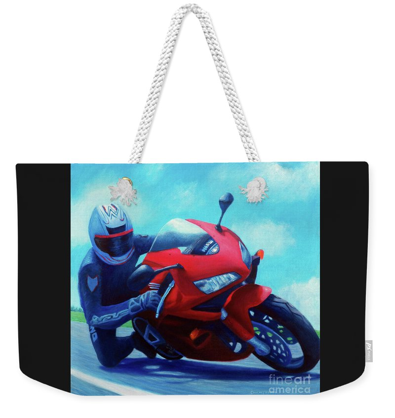 Motorcycle Weekender Tote Bag featuring the painting Sky Pilot - Honda Cbr600 by Brian Commerford