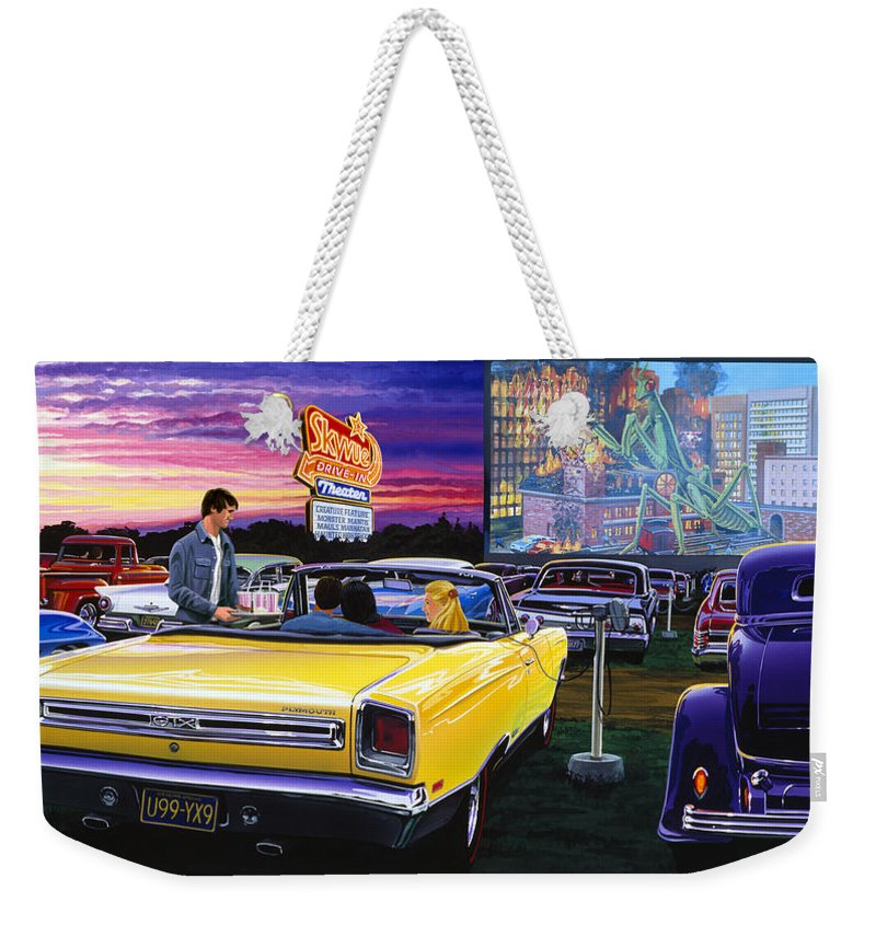 Adult Weekender Tote Bag featuring the photograph Sky View Drive-in by Bruce Kaiser