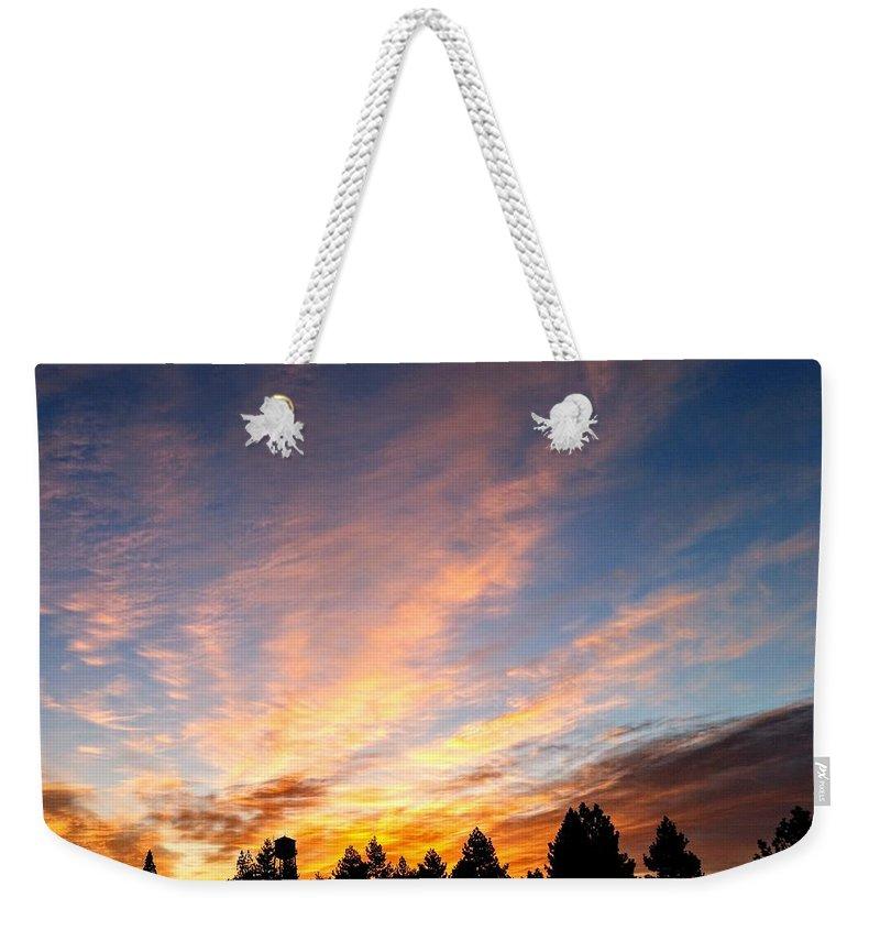 Sunrise Weekender Tote Bag featuring the photograph Skyfire by Joel Pearman
