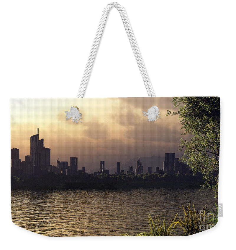 Cities Weekender Tote Bag featuring the digital art Skyline Lake by Richard Rizzo