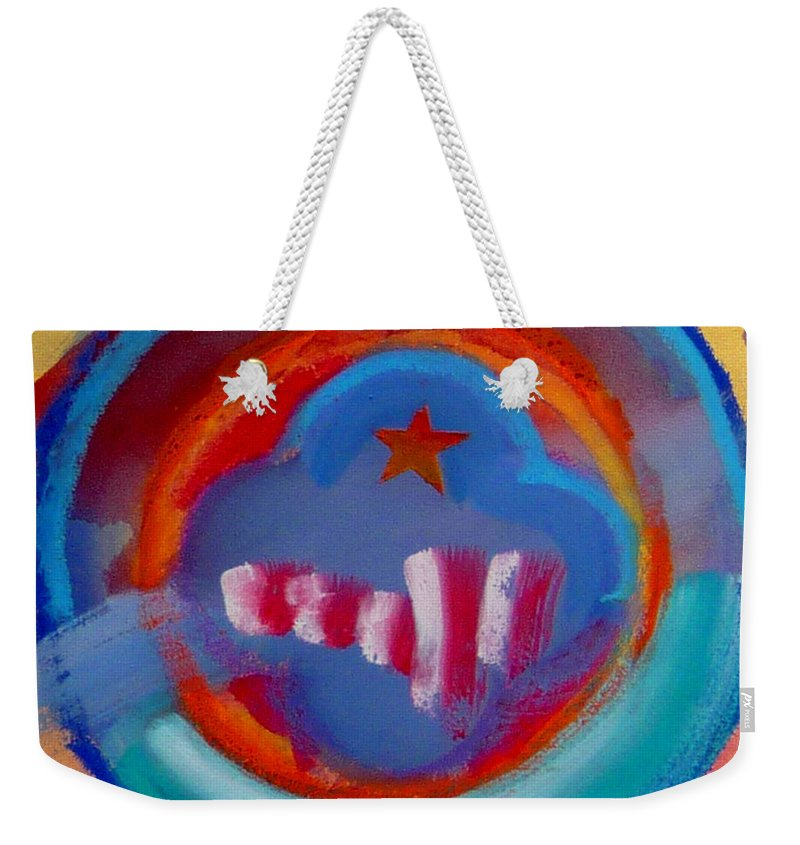 Logo Weekender Tote Bag featuring the painting Skyscrapers by Charles Stuart