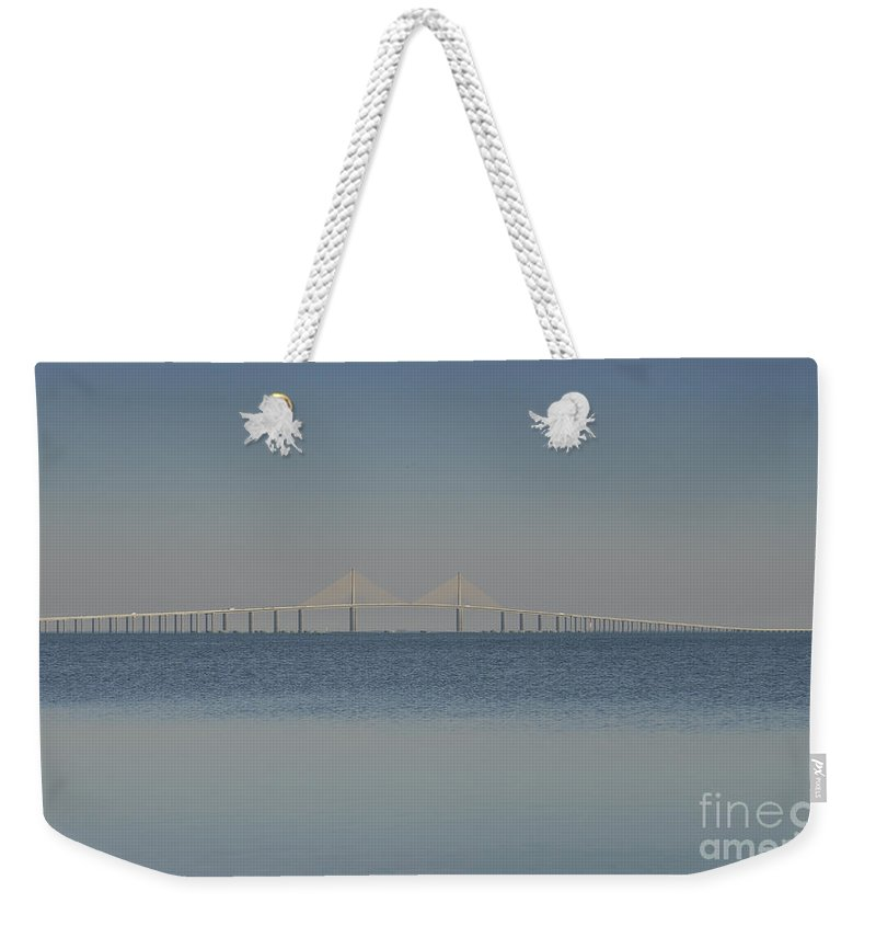 Blue Weekender Tote Bag featuring the photograph Skyway Bridge In Blue by David Lee Thompson