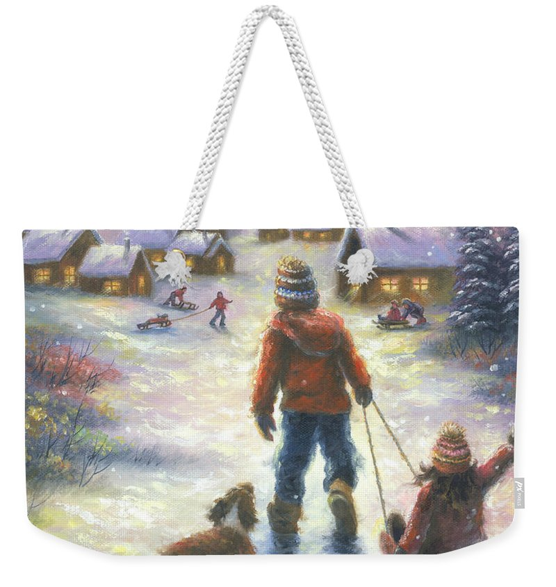 Snow Weekender Tote Bag featuring the painting Sledding To The Village by Vickie Wade
