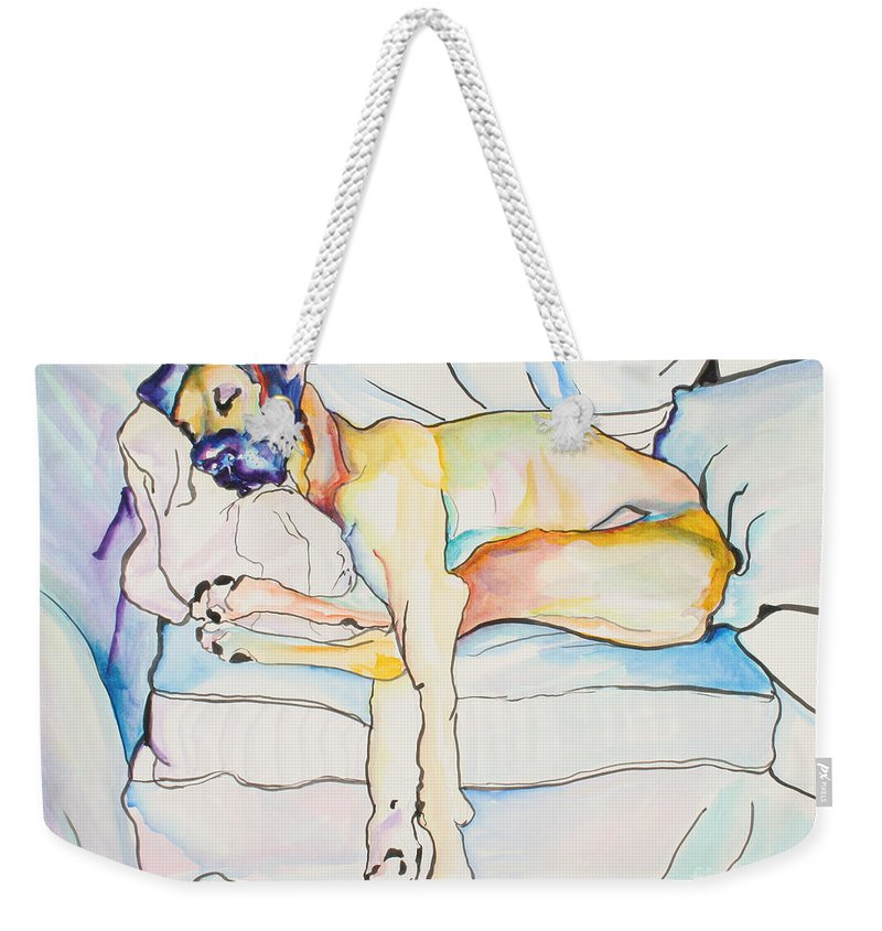 Great Dane Weekender Tote Bag featuring the painting Sleeping Beauty by Pat Saunders-White