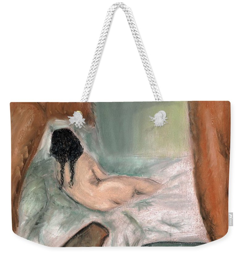 Nude Weekender Tote Bag featuring the pastel Sleeping In The Nude by Melvin Moon