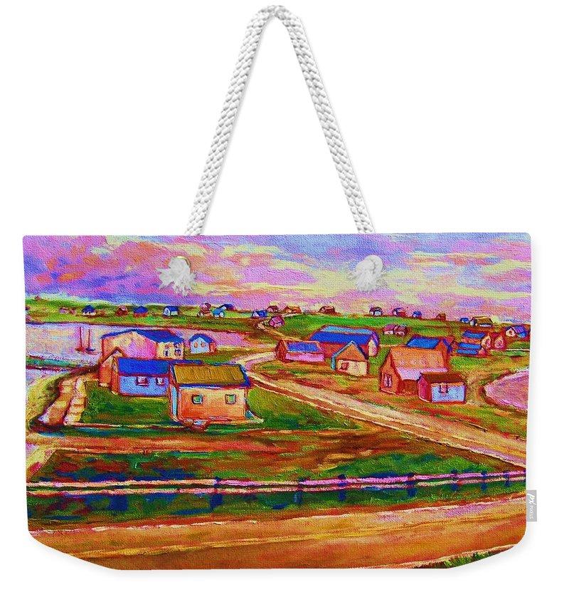 Sunrise Weekender Tote Bag featuring the painting Sleepy Little Village by Carole Spandau