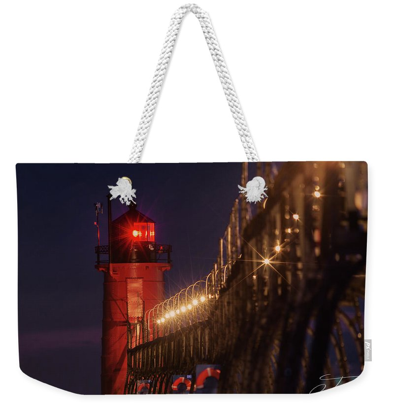 South Haven Lighthouse Weekender Tote Bag featuring the photograph South Haven Lighthouse by J Thomas