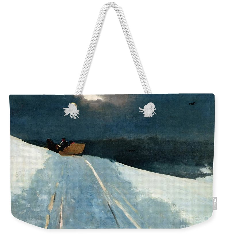 Winter Scene; Wintry; Snow; Snow-covered Landscape; Rural; Remote; Night; Darkness; Tracks; Path; Track; Moonlight; Sledge; Nocturne; Sleigh Ride Weekender Tote Bag featuring the painting Sleigh Ride by Winslow Homer