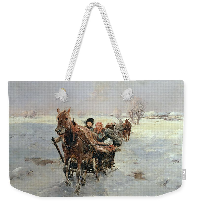 Sleighs Weekender Tote Bag featuring the painting Sleighs In A Winter Landscape by Janina Konarsky