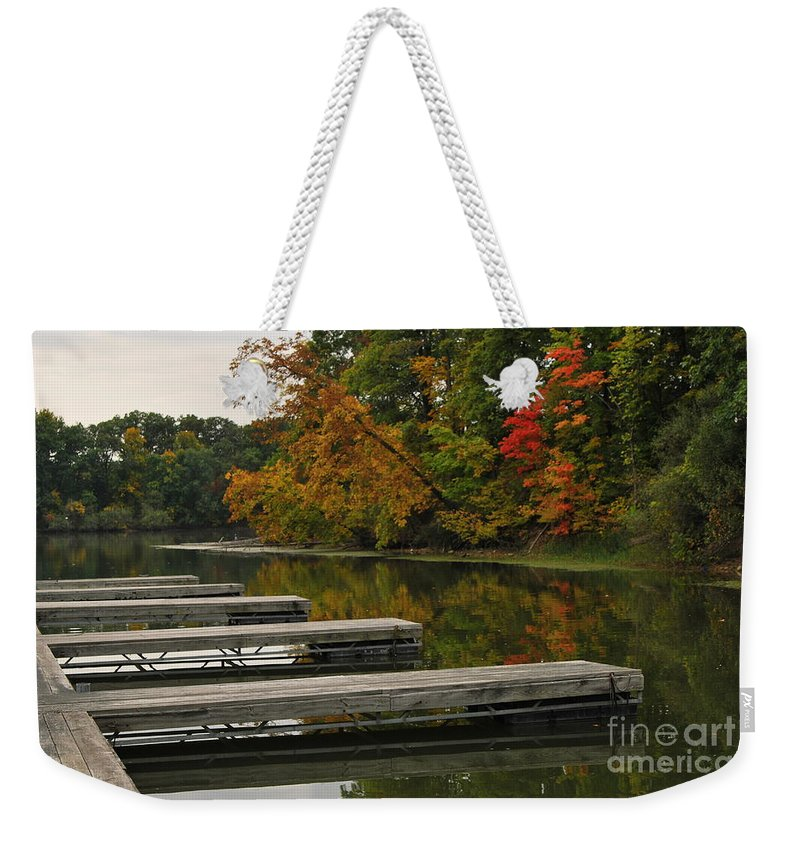 Boat Slipslips Weekender Tote Bag featuring the photograph Slips In Autumn by Michelle Hastings