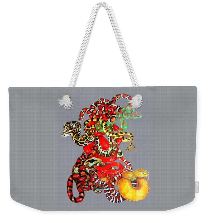 Reptile Weekender Tote Bag featuring the drawing Slither by Barbara Keith