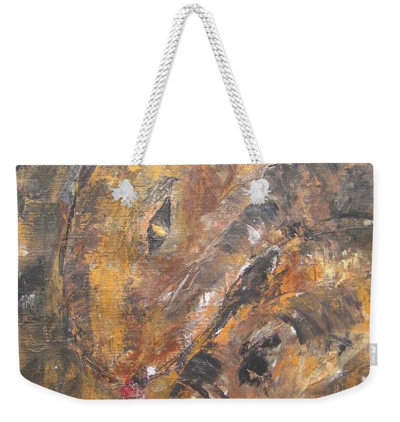 Acrylic Weekender Tote Bag featuring the painting Slither by Maria Watt