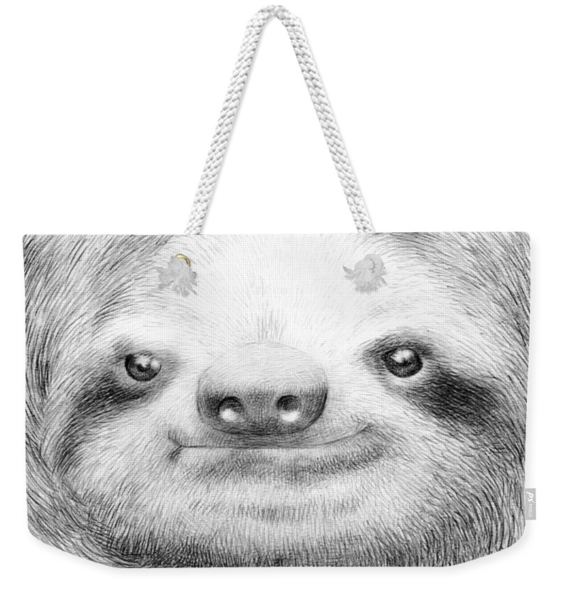 Sloth Weekender Tote Bag featuring the drawing Sloth by Eric Fan