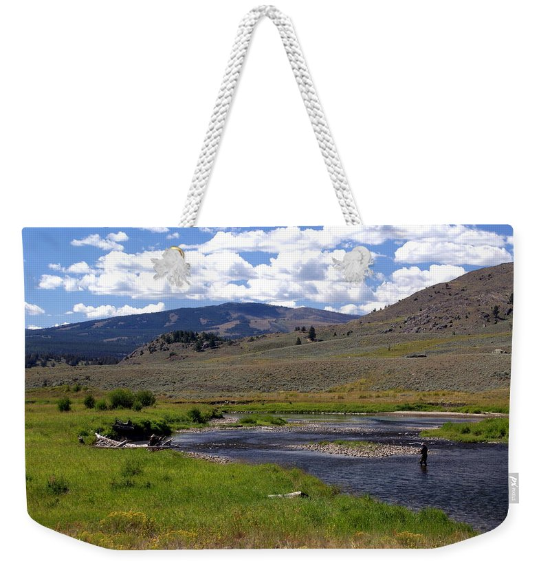 Yellowston National Park Weekender Tote Bag featuring the photograph Slough Creek Angler by Marty Koch