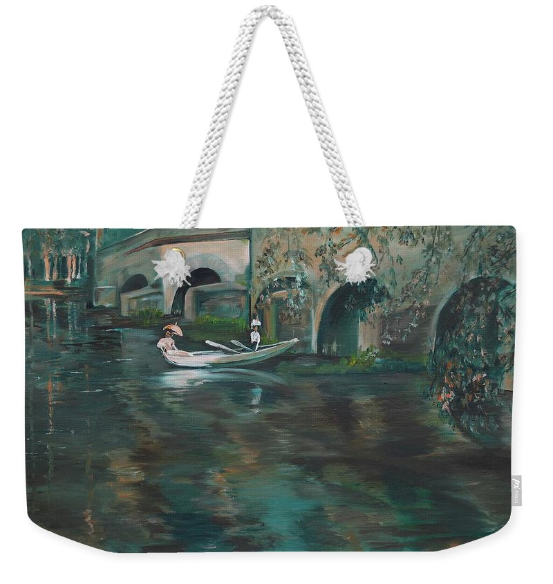 River Weekender Tote Bag featuring the painting Slow Boat - Lmj by Ruth Kamenev