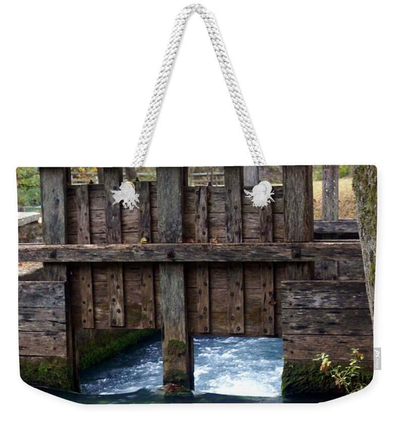 Alley Spring Weekender Tote Bag featuring the photograph Sluce Gate by Marty Koch