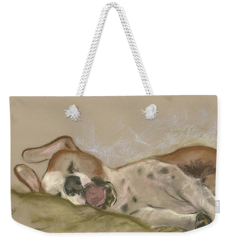 Dog Weekender Tote Bag featuring the drawing Slumbering Grace by Cori Solomon