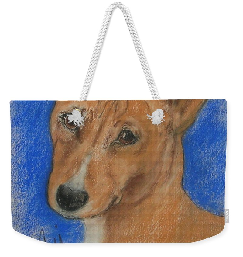Dog Weekender Tote Bag featuring the drawing Small And Mighty by Cori Solomon