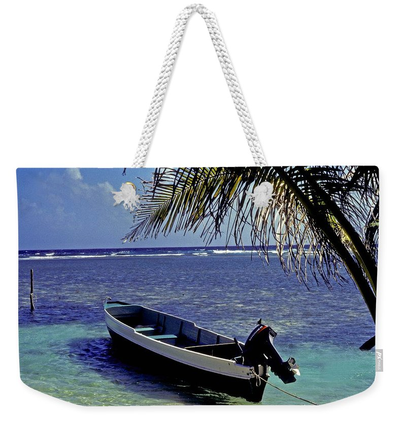 Boat Weekender Tote Bag featuring the photograph Small Boat Belize by Gary Wonning