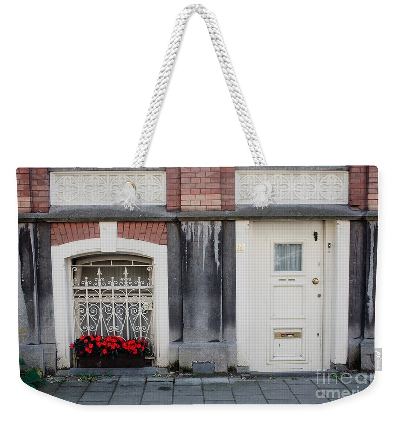 Flower Weekender Tote Bag featuring the photograph Small Door And Flower Box Amsterdam by Thomas Marchessault