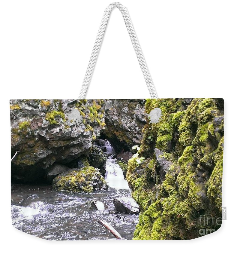 Waterfall Weekender Tote Bag featuring the photograph Small Falls At Boulder Cave by LKB Art and Photography