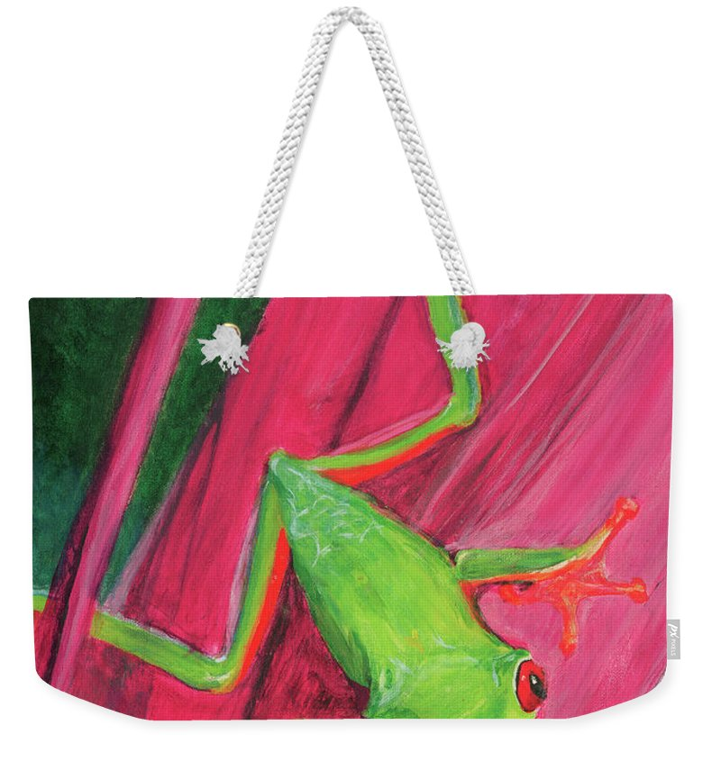 Frog Weekender Tote Bag featuring the painting Small Frog by Terry Lewey