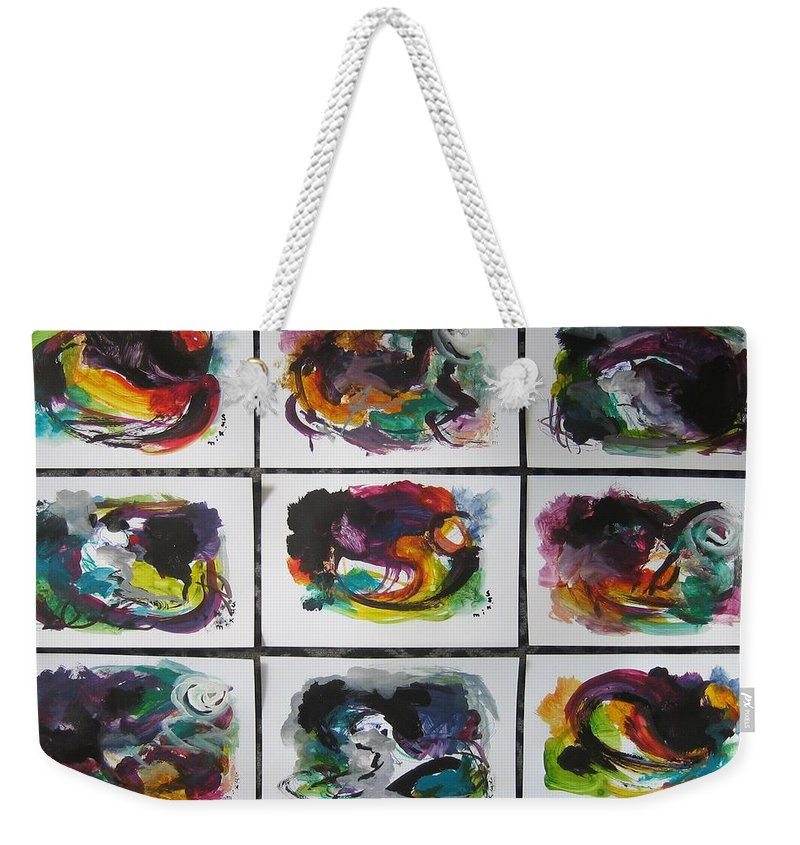 Abstract Paintings Weekender Tote Bag featuring the painting Small Landscape4 by Seon-Jeong Kim