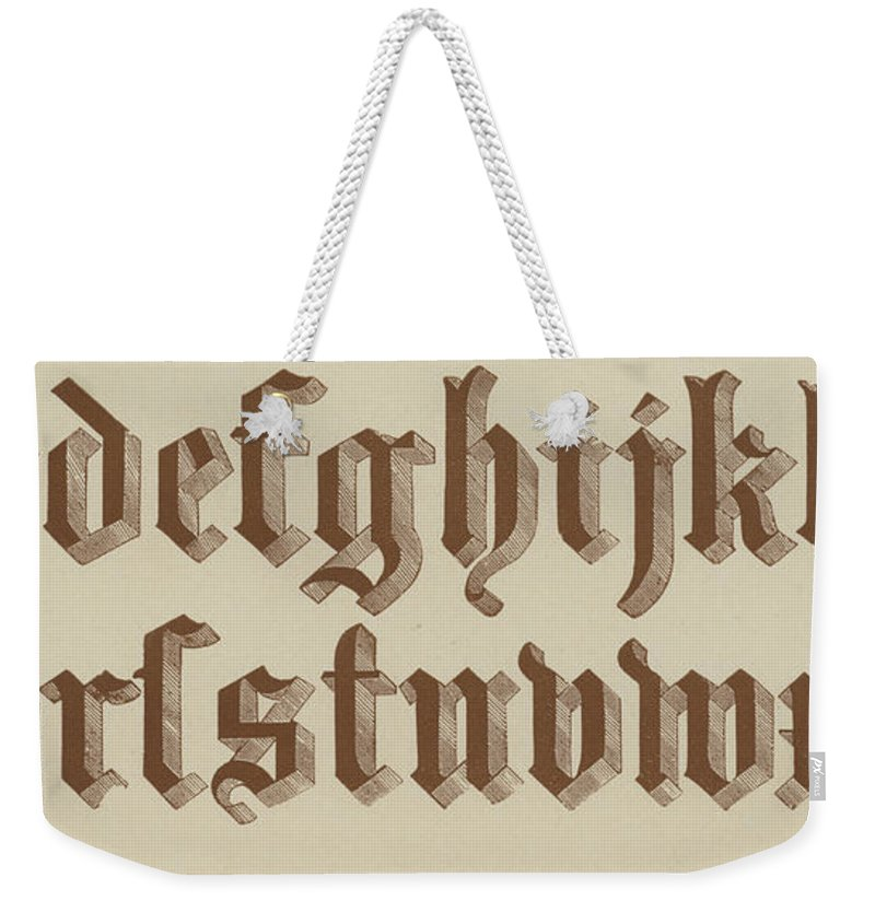Small Old English Riband Weekender Tote Bag featuring the drawing Small Old English Riband by English School