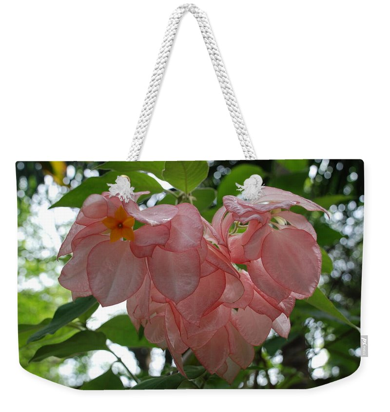 Orange Weekender Tote Bag featuring the photograph Small Orange Flower Pink Heart Leaves by Rob Hans