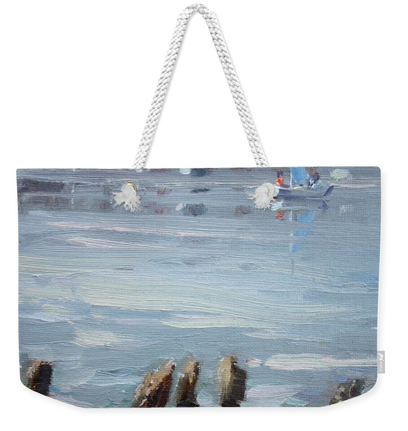 Town Weekender Tote Bag featuring the painting Small Town Across Niagara River by Ylli Haruni