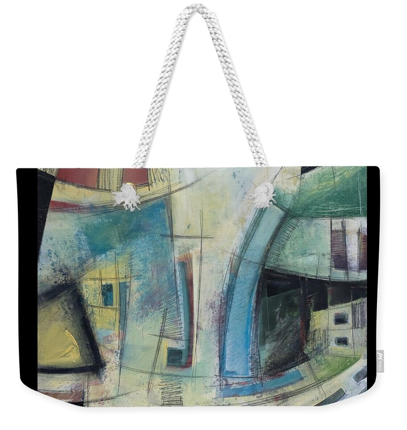Abstract Weekender Tote Bag featuring the painting Small Town Blues by Tim Nyberg