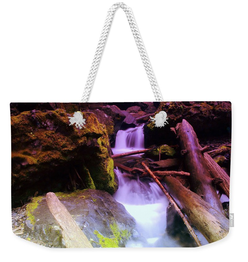 Water Weekender Tote Bag featuring the photograph Small Waterfalls by Jeff Swan