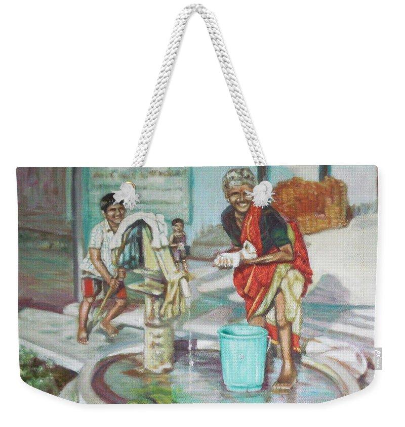 Usha Weekender Tote Bag featuring the painting Smile Plz by Usha Shantharam