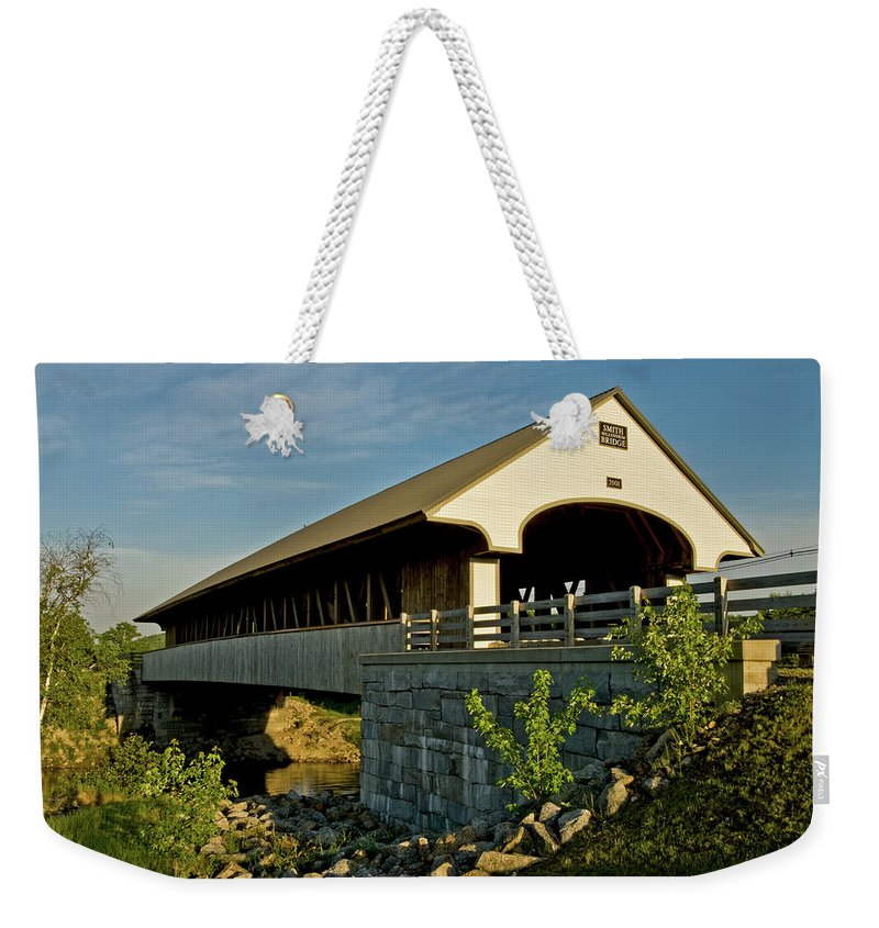 new England Covered Bridges Weekender Tote Bag featuring the photograph Smith Millennium Bridge At Sunset by Paul Mangold