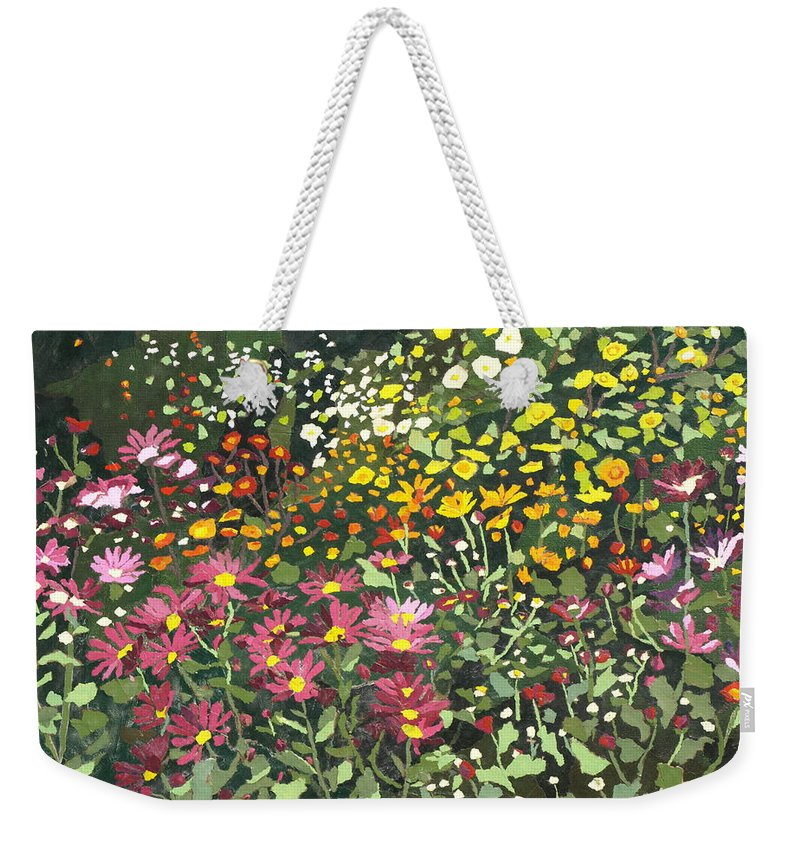 Floral Weekender Tote Bag featuring the painting Smith Mums by Leah Tomaino