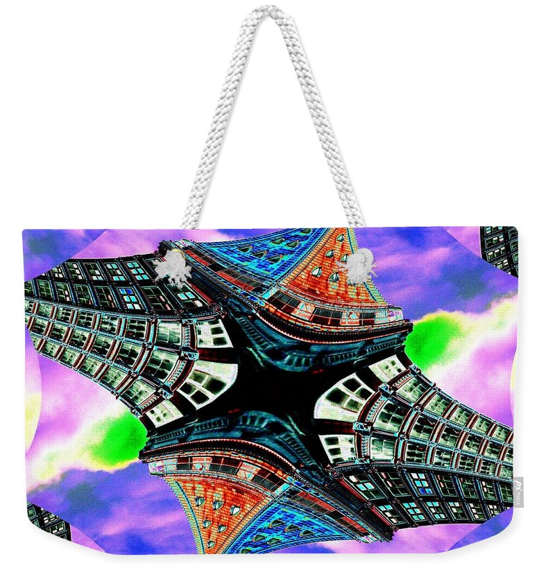 Seattle Weekender Tote Bag featuring the digital art Smith Tower Fractal by Tim Allen