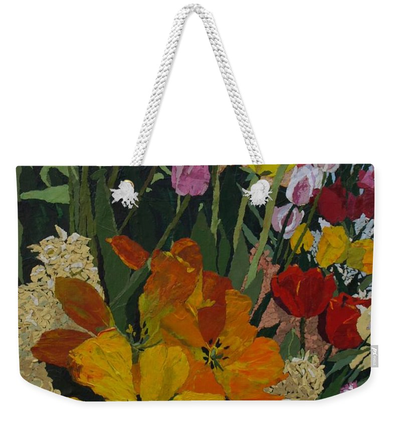 Floral Weekender Tote Bag featuring the painting Smith's Bulb Show by Leah Tomaino