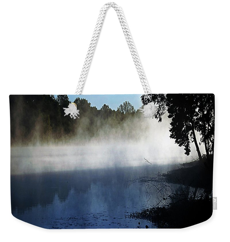 Smoke Weekender Tote Bag featuring the digital art Smoke On The Water by DigiArt Diaries by Vicky B Fuller