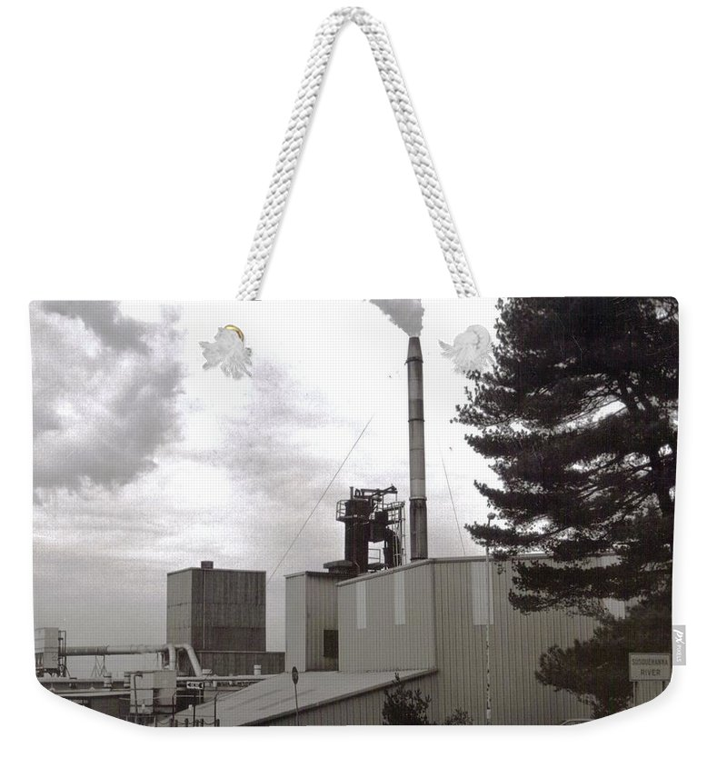 Black And White Photograph Weekender Tote Bag featuring the photograph Smoke Stack by Thomas Valentine