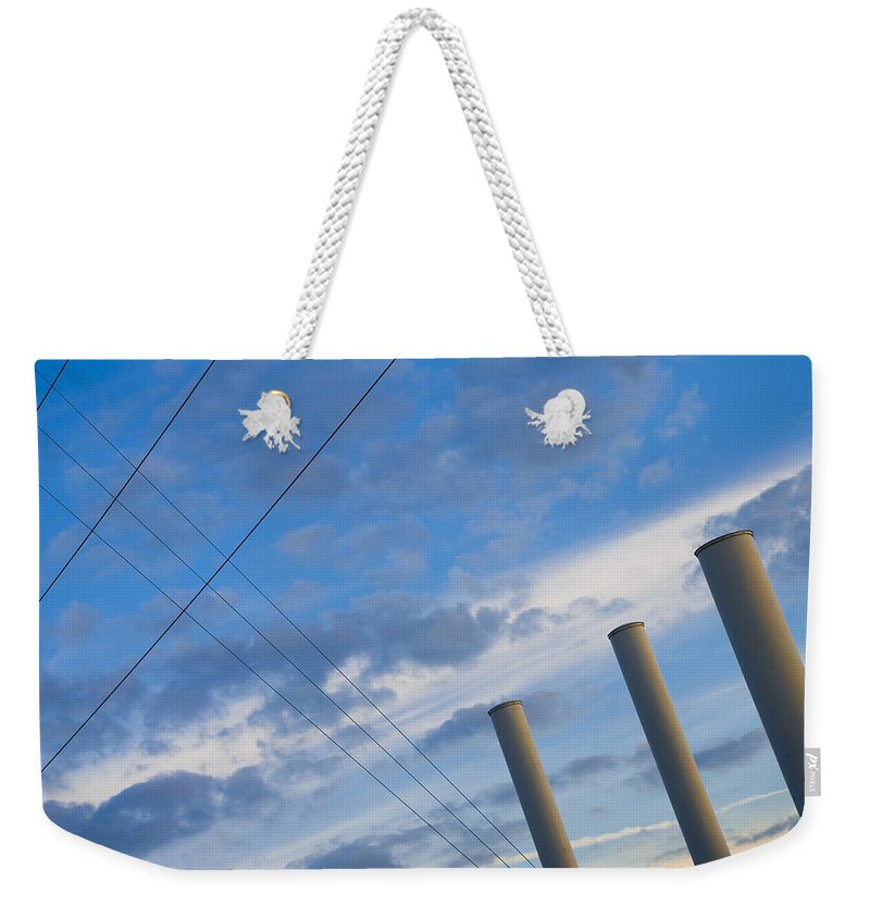 Blue Weekender Tote Bag featuring the photograph Smoke Stax by Skip Hunt