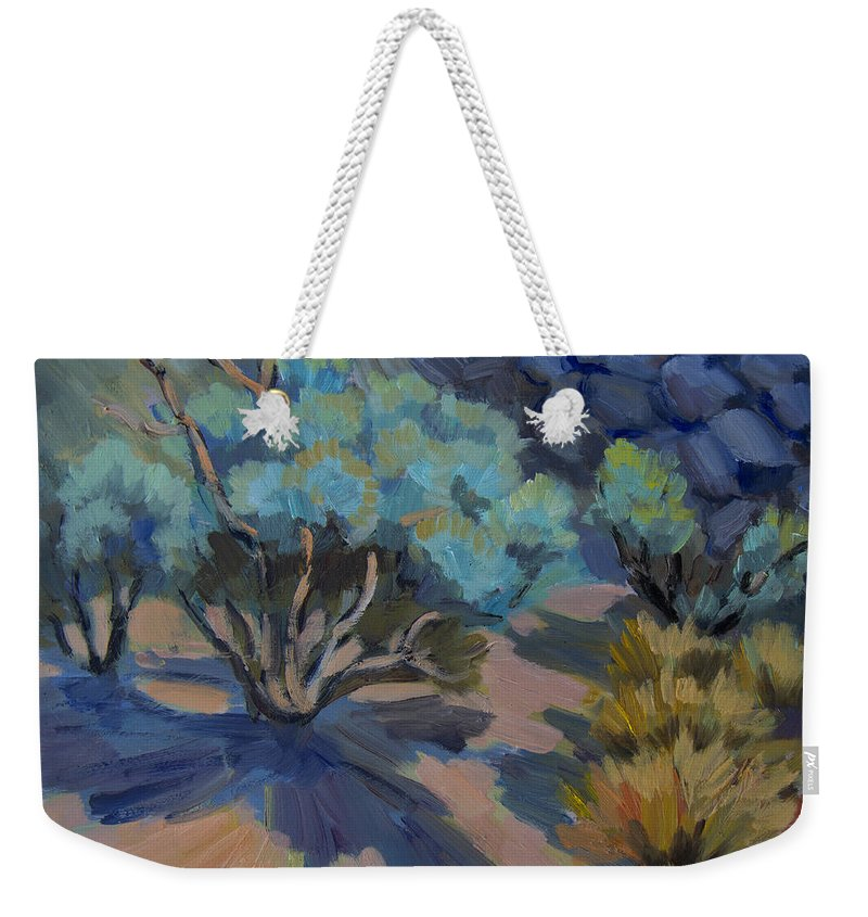 Smoke Tree Weekender Tote Bag featuring the painting Smoke Tree In La Quinta Cove by Diane McClary