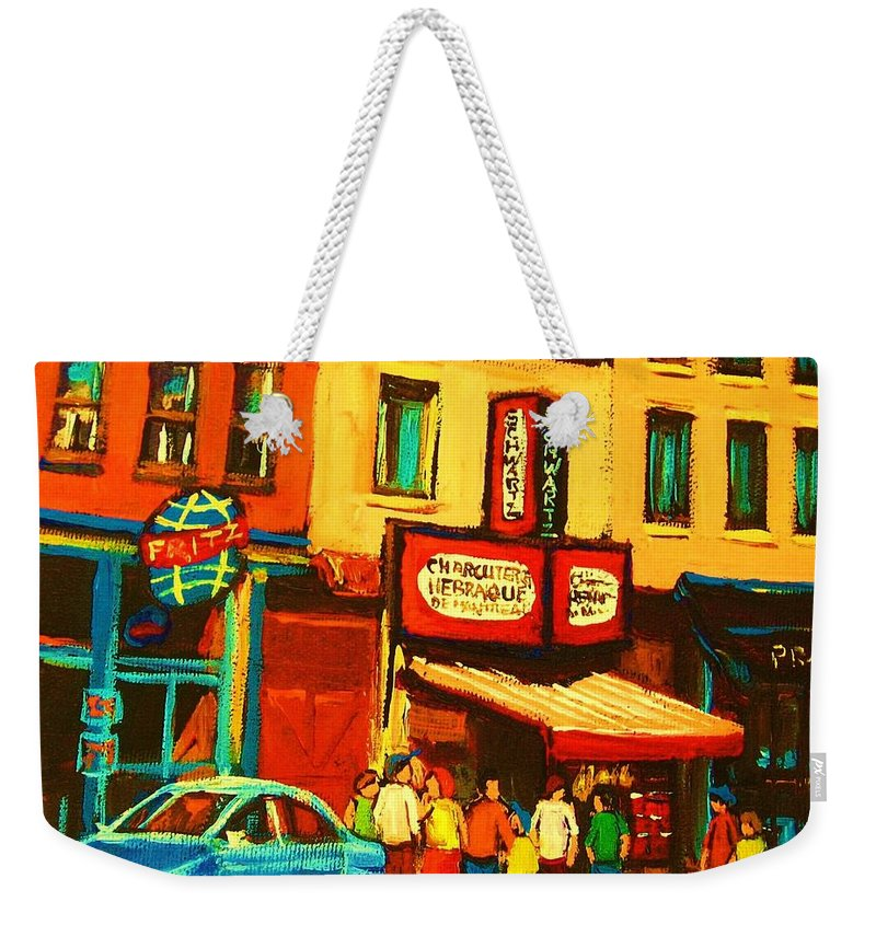 Montreal Smoked Meat Restaurants City Scenes Weekender Tote Bag featuring the painting Smoked Meat Sandwiches Await by Carole Spandau